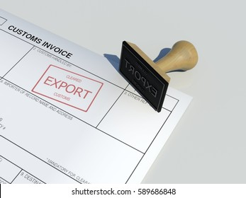 Export cleared approval stamp of customs clearance border control service on customs invoice paper with wooden stamper isolated on table surface government border protection scene background
