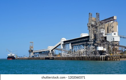 Export coal shipping terminal at the port of Gladstone in Queensland Australia