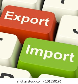 Export And Import Keys Shows International Trade Or Global Commerce Of Commodities And Freight. Includes Distribution Of Cargo, Customs Duty And Shipping.