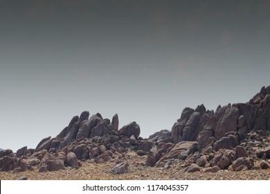 Exposed rocks with dark sky background, Alabama Hills, Owens Valley near Lone Pine, California, USA