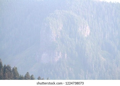 Exposed volcanic rock outcrop, Lookout Mountain from Carpenter Mtn fire lookout, H.J. Andrews Experimental Forest, Oregon, USA