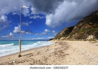 The exposed west coast of Lefkada, Greece, near Avali beach