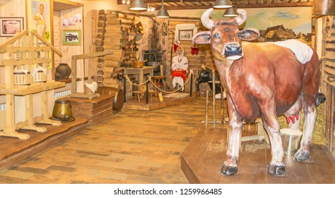 Exposition of the Museum of Cheese in Kostroma. Russia, Kostroma. December 10, 2018