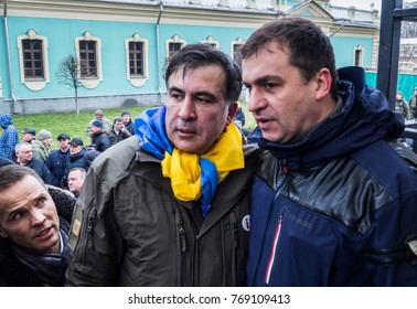 Ex-President of Georgia Mikhail Saakashvili with his supporters.  The ex-governor of the Odessa region, Mikhail Saakashvili, was detained in Kiev on Tuesday, December 5, 2017.
