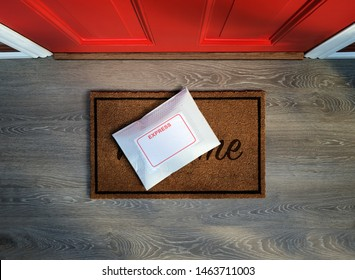Express courier package delivered outside door. Overhead view. Copy space