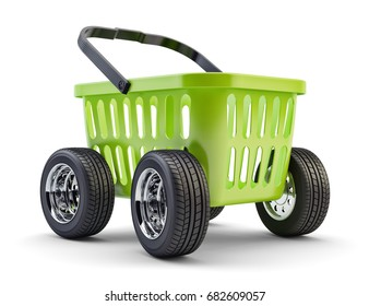 Express delivery service and retail industry concept, green plastic shopping basket on wheels, isolated on white, 3d illustration
