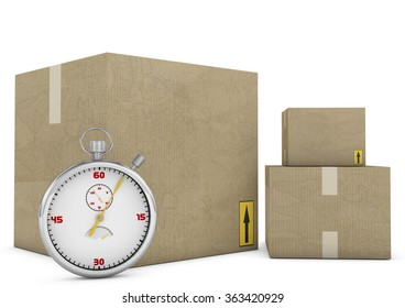 Express delivery. Stopwatch and package on white background. 3d