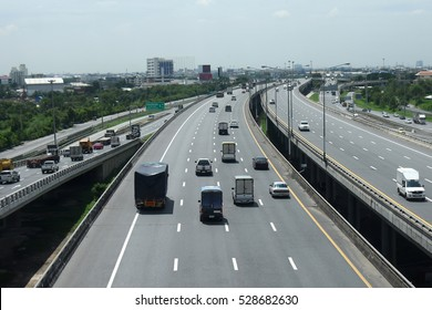Express highway road traffic in Bangkok province, Thailand