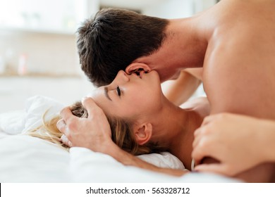 Expression of passionate lovemaking  during foreplay