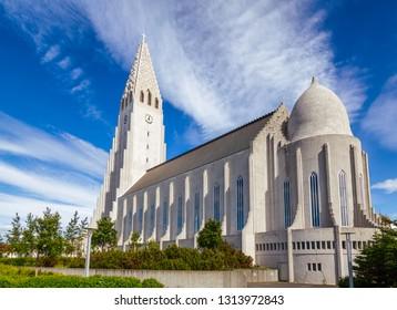 Expressionist architecture style Hallgrimskirkja (church of Hallgrímur) lutheran parish church in Reykjavik, Scandinavia, the largest church in Iceland