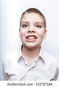 Expressive 10-years boy portrait.