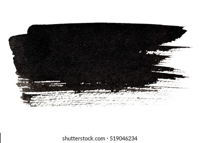 Expressive black brush stroke isolated on the white background