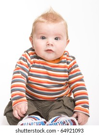 Expressive cute little boy isolated on white background.