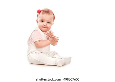 Expressive Happy Adorable Baby on a White Background