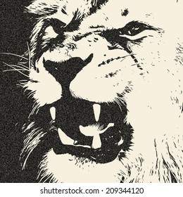 Expressive lion shows his huge fangs. The King of beasts, dangerous and biggest cat of the world. Great for user pic, icon, label or tattoo. Amazing illustration in grunge style. Zodiac symbol.