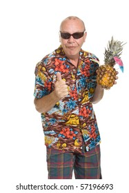 746d2eeb Expressive old man in loud shirt holiday concept isolated against white.