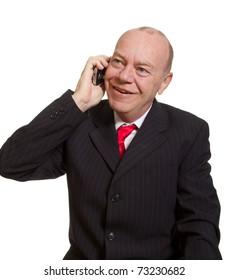 Expressive senior businessman isolated on white talking on phone concept