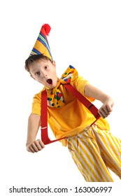 Expressive shouting boy wearing bright carnival costume