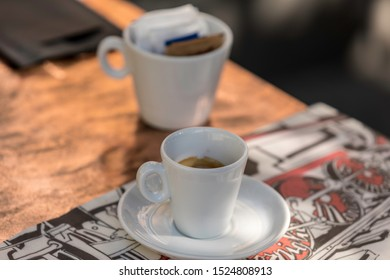 Expresso coffee, an Italian expresso freshly made and sitting in an alfresco cafe. A typical setting on your travels.