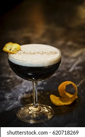 expresso coffee martini cocktail drink in modern bar