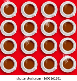 expresso hot cup of coffee on a colored background pattern