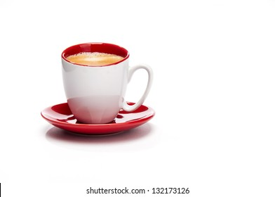 Expresso in red and white cup from front