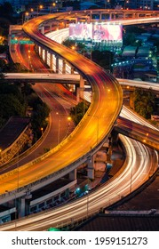 Expressway and the city of Bangkok landscape evening  top view