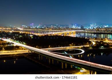 Expressway in Seoul at night