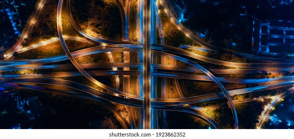 Expressway top view, Road traffic an important infrastructure in Thailand. Road and Roundabout, multilevel junction motorway