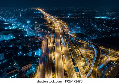 Expressway top view, Road traffic an important infrastructure in Thailand. Road and Roundabout, multilevel junction motorway, U turn road
