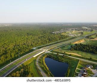 Expressway transportation system/Florida Roads/ Aerial view of Florida highway corridor near Orlando Florida