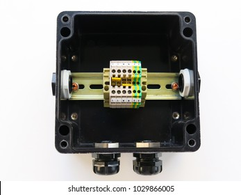 Exprosion proof Instrument junction box with cable gland isolated on white background, terminal block connection cable inside junction box