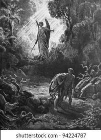 Expulsion of Adam and Eve from paradise. 1) Le Sainte Bible: Traduction nouvelle selon la Vulgate par Mm. J.-J. Bourasse et P. Janvier. Tours: Alfred Mame et Fils. 2) 1866 3) France 4) Gustave Doré
