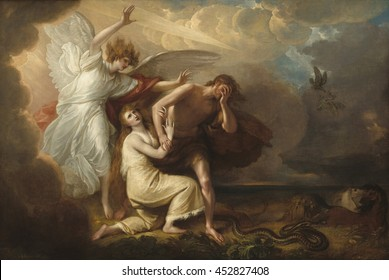 The Expulsion of Adam and Eve from Paradise, 1791, by Benjamin West, by Anglo-American painting, oil on canvas. Archangel Michael expels Adam and Eve, who wear coats of skins' from Eden. The serpent,