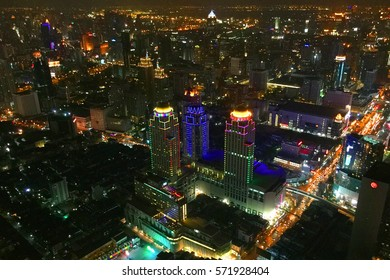 Exquisite bird's eye view of the center of Bangkok at night, Thailand