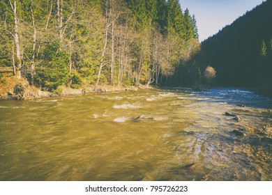 Exquisite nature of mountains, mountain river, landscape
