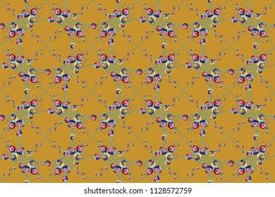 Exquisite pattern of watercolor poppy flowers, vintage style. Trendy print on a yellow background. Beautiful pattern for decoration and design. Watercolor seamless pattern with poppy flowers.
