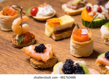 Exquisite selection of luxury canapes, appetizer ready to be served for events, celebrations or other occasion