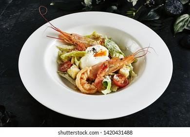 Exquisite Serving White Restaurant Plate of Caesar Salad with Shrimps, Chicken, Croutons, Tomatoes, Cucumbers. Beautiful Delicacy Seafood Cesar Salat on Black Marble Background