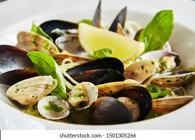 Exquisite Serving White Restaurant Plate of Spaghetti Nido with Sea Shells in Wine Sauce, Basil, Parsley and Celery Close Up. Homemade Italian Vongole Clams Linguini Pasta on Black Marble Table