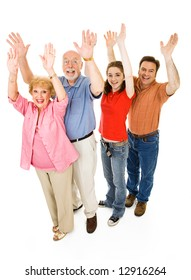 Extended family of grandparents, father, and teen daughter, all giving a big cheer.  Full body isolated on white.