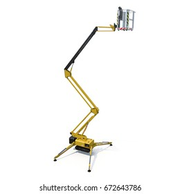 extended scissor lift on white. 3D illustration, clipping path