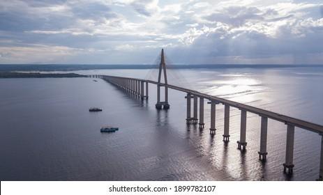 EXTENSIVE BRIDGE OVER THE NEGRO RIVER MANAUS AMAZONAS