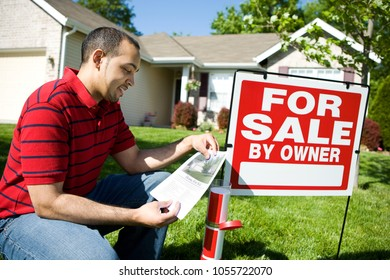 Extensive series of a Caucasian Real Estate Agent and African-American Couple in front of a home.