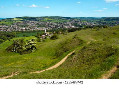 Extensive views over the Stroud Valleys from Selsley Common, Stroud, Gloucestershire, Cotswolds, UK
