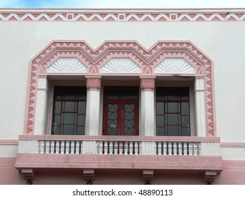 Exterior of a 1930's Art-Deco building in Napier, New Zealand.  Napier was destroyed by an earthquake in 1931 and re-built in the style of the time, which was Art Deco