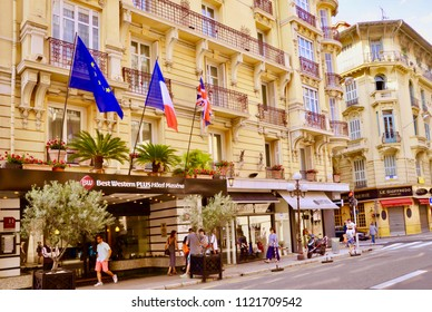 Exterior of the 4 star luxury hotel, the Best Western Hotel, Massena, Nice, France, Europe. June 2018