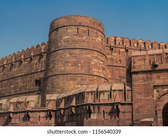 The exterior of Agra Fort, Agra, Uttar Pradesh, India, which is the UNESCO World Heritage