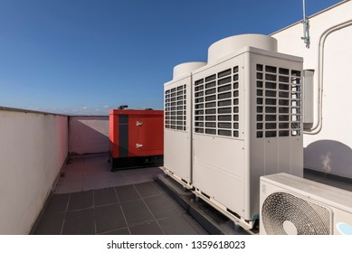 Exterior air conditioning of an office building. Ventilation system.