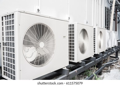 Exterior air conditioning unit on a wall